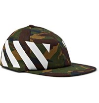 Off White Camouflage Print Stretch Cotton Canvas Cap