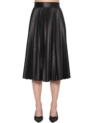 Red Valentino Pleated A Line Leather Midi Skirt Black