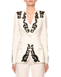 Dolce And Gabbana Filigree Embroidered Single Breasted Blazer Jacket White