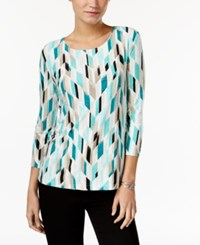 Jm Collection Printed Jacquard Top Only At Macy's Mermaid Green
