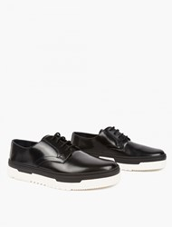 Valentino Black Contrast Sole Derby Shoes