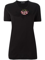 Dolce And Gabbana Rose Patch T Shirt Black