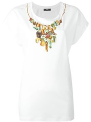 Diesel Diamond Necklace Print T Shirt White