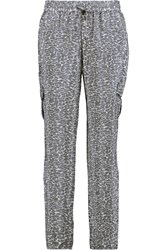 Joie Abriana Leopard Print Silk Tapered Pants Gray