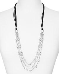 Robert Lee Morris Soho Leather And Chain Necklace 32 Silver Black