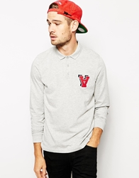 Asos Polo Shirt With Long Sleeves And Chest Embroidery Greymarl