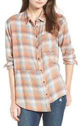 Treasure And Bond Women's Asymmetrical Plaid Boyfriend Shirt