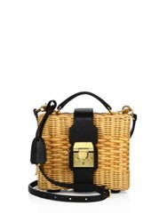 Mark Cross Harley Rattan And Leather Convertible Clutch Natural Black