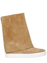 Casadei 90Mm Suede Wedge Sneakers