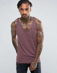 Pull And Bear Tank In Burgundy Red