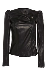Isabel Marant Connie Wrap Over Leather Jacket Black