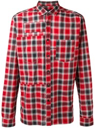 Lanvin Topstitched Patchwork Checked Shirt Red
