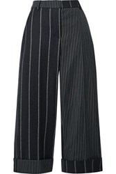 Thom Browne Cropped Pinstriped Wool Wide Leg Pants Midnight Blue