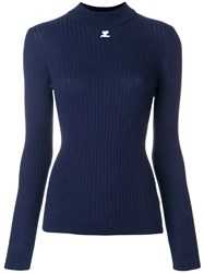 Courreges Fitted Knitted Top Cotton Cashmere Blue