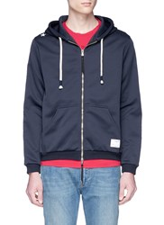 The Editor Stripe Sleeve Zip Hoodie Blue