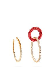 Jacquemus Les Creoles Conca Mismatched Crystal Earrings Red