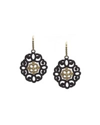 Armenta Old World Filigree Earrings With Black Sapphires And Diamonds Yellow Black