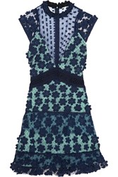 Self Portrait Floral Appliqued Tulle And Georgette Mini Dress Navy