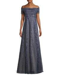 Rene Ruiz Metallic Off The Shoulder A Line Gown Navy