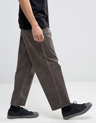 Asos Wide Leg Chino With Oil Wash And Raw Hem In Brown Turkish Coffee