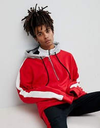 Sixth June Oversized Hoodie In Red With Half Zip And Stripe