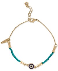 Rachel Roy Gold Tone Beaded Flex Bracelet Blue