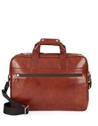 Bosca Leather Stringer Brief Case Amber