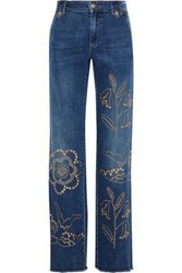 Red Valentino Studded Mid Rise Wide Leg Jeans Blue