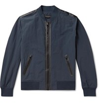 Rag And Bone Nylon Cotton Blend Bomber Jacket Navy