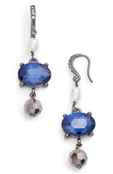 Badgley Mischka Women's Pearl Drop Earrings Hematite