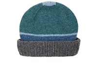 Inis Meain Men's Striped Wool Hat Grey Turquoise Blue