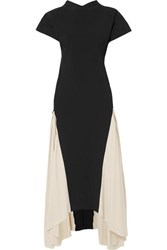 Awake A.W.A.K.E. Iris Two Tone Crepe De Chine Maxi Dress Black