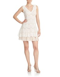 Betsy And Adam Lace Fit Flare Dress Ivory Blush