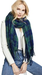 Free People Emerson Plaid Scarf Navy