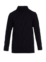 Connolly Chunky High Neck Wool Blend Sweater Navy