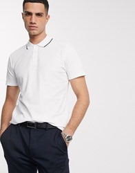 Selected Homme Tipped Polo In White