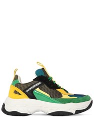 Calvin Klein Jeans 40Mm Maya Leather And Mesh Sneakers Black Green