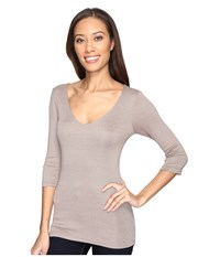 Michael Stars Shine 3 4 Sleeve Double Front V Neck Shale Women's Long Sleeve Pullover Brown