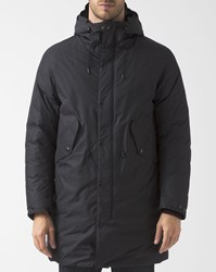 C.P. Company Navy Blue Long Down Parka With Adjustable Hood And Goggles Black