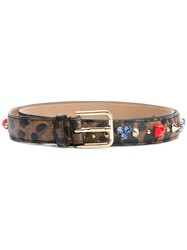 Dolce And Gabbana Embellished Leopard Print Belt Brown