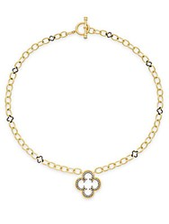 Freida Rothman Clover Drop Chain Link Necklace Gold Silver
