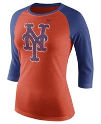 Nike Women's New York Mets Tri Raglan T Shirt Orange