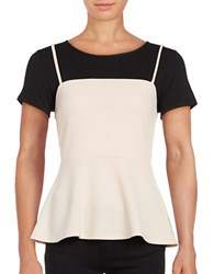 Design Lab Lord And Taylor Mock Layer Peplum Tee
