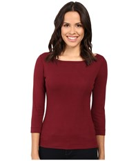 Three Dots 3 4 Sleeve British Tee Bordeaux Women's Long Sleeve Pullover Burgundy