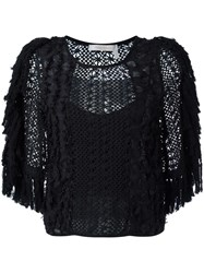 See By Chloe Embroidered Crochet Fringed Blouse Black
