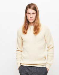 Ymc Hemingway Rib Knitted Jumper Cream