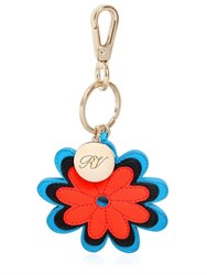 Roger Vivier Flower Embroidered Leather Key Holder