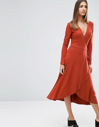Asos Midi Wrap Tea Dress With Long Sleeves Rust Red