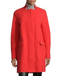 Halston Heritage Double Faced Coat W Stand Collar Women's