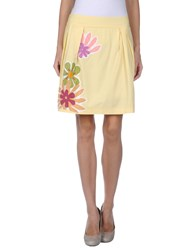 Rose' A Pois Knee Length Skirts Yellow